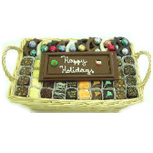 Wicker Basket filled with assorted chocolate and custom inscribed chocolate bar