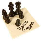 `Your Move` Chocolate Chess Board with 6 Chocolate Chess Pieces